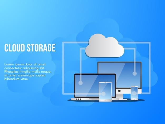 Ilustração conceitual de armazenamento em nuvem Vetor Premium