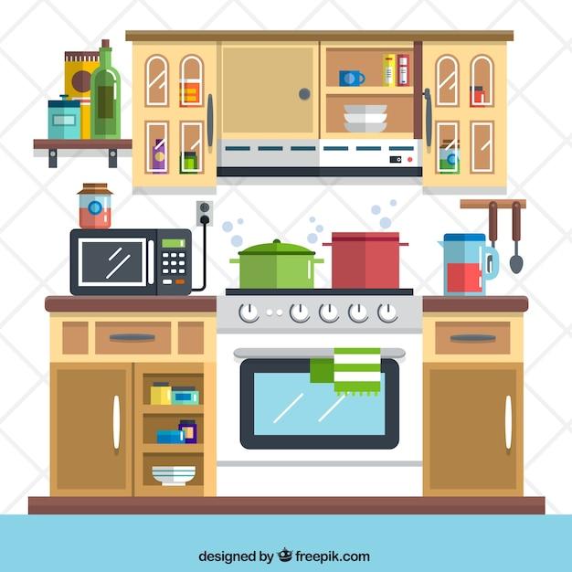 Messy Commercial Kitchen: Ilustração Cozinha Plana