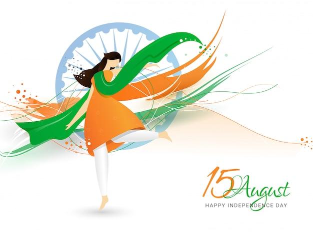 Ilustração criativa da mulher que desgasta o pano e a dança tricolor. feliz dia da independência da índia Vetor Premium
