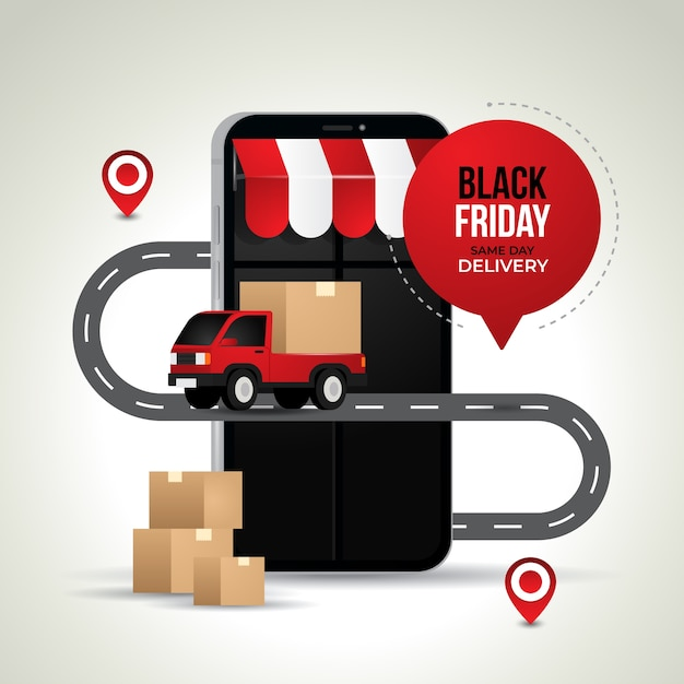 Ilustração criativa de compras e entregas online da black friday Vetor Premium