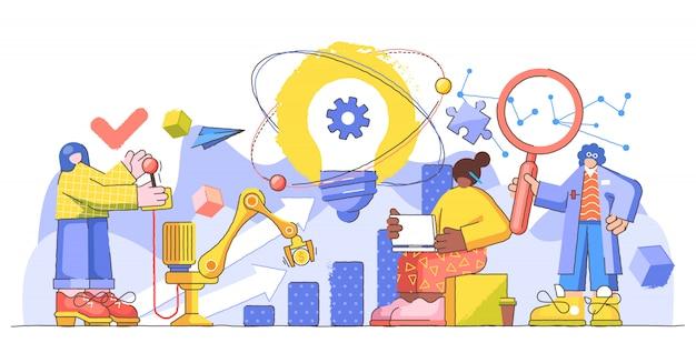 Ilustração criativa de inovação progresso gestão Vetor Premium