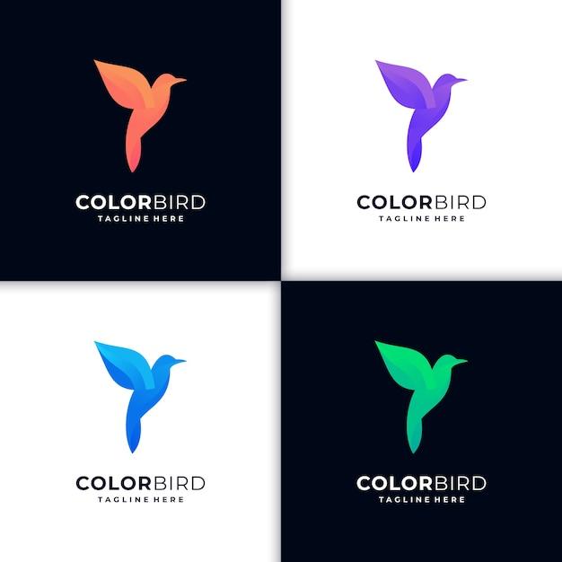 Ilustração criativa gradiente do logotipo do beija-flor Vetor Premium