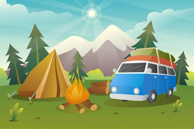 Ilustração da área e equipamentos do acampamento de verão Vetor Premium