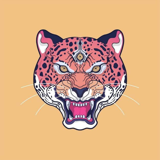 Ilustração da arte da cabeça do jaguar Vetor Premium
