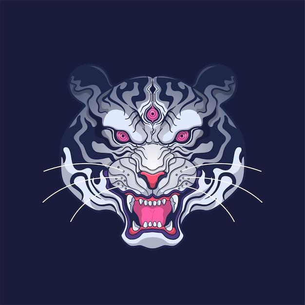 Ilustração da arte da cabeça do tigre branco siberiano Vetor Premium