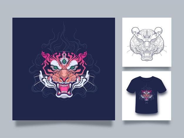 Ilustração da arte da cabeça do tigre com estilo japonês Vetor Premium