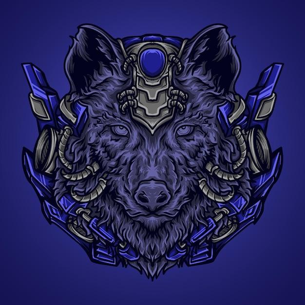 Ilustração da arte e camiseta lobo robô Vetor Premium