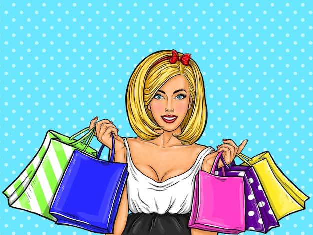 Ilustração da arte pop do vetor de uma menina feliz sexy nova que prende sacos de compra. Vetor grátis