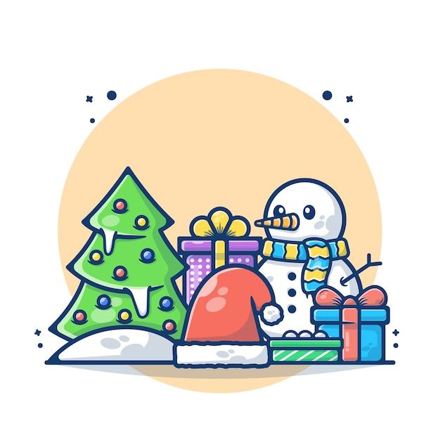 Ilustração da árvore de natal com boneco de neve Vetor Premium