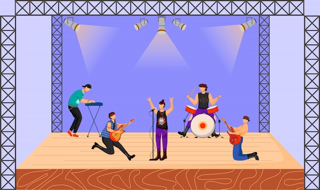 Ilustração da banda de heavy metal. grupo de música tocando em concerto. músicos tocando juntos no palco. performance musical ao vivo. festival, evento. personagens de desenhos animados Vetor Premium