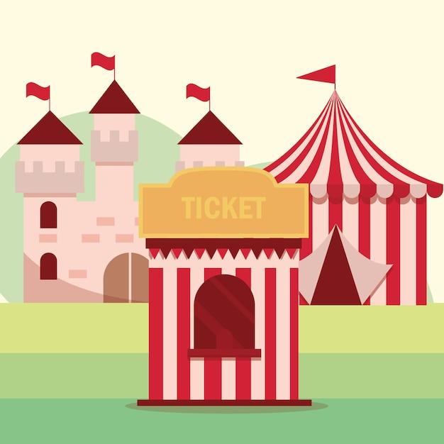 Ilustração da barraca e do castelo para o carnaval do parque de diversões Vetor Premium