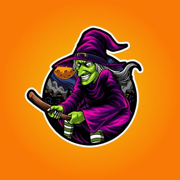 Ilustração da bruxa do dia das bruxas Vetor Premium