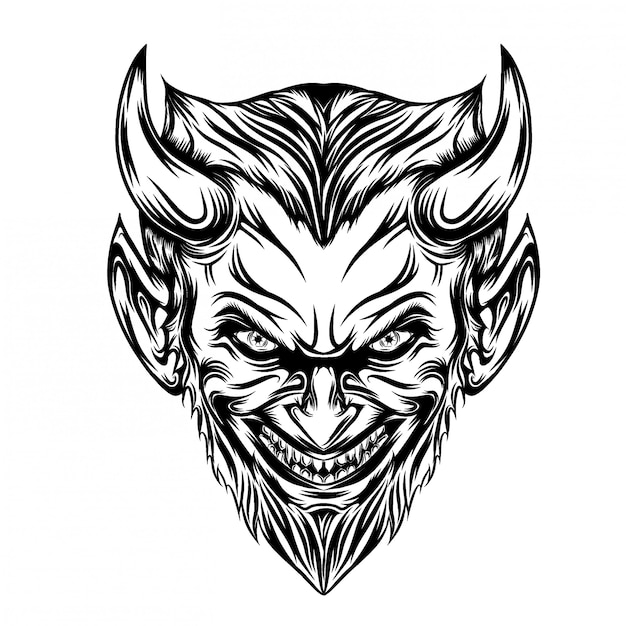 Ilustração da cabeça do diabo com barba comprida e sorriso assustador Vetor Premium