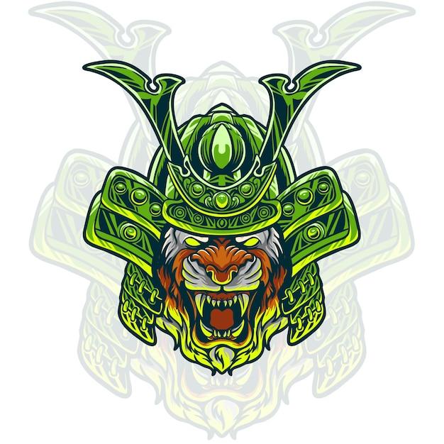 Ilustração da cabeça do tigre samurai Vetor Premium