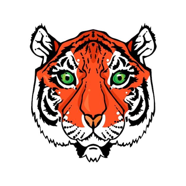 Ilustração da cabeça isolada do tigre no estilo do vintage para matérias têxteis, cópia e tatuagem. Vetor Premium