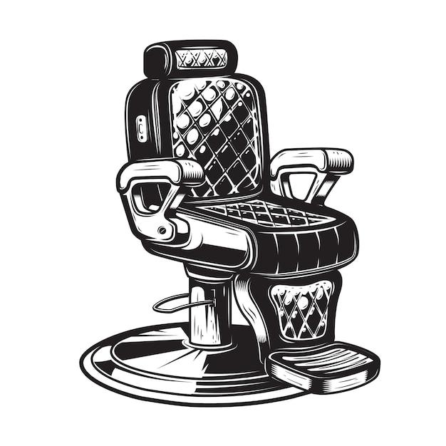 Ilustração da cadeira de barbeiro no fundo branco. elemento para cartaz, emblema, sinal, crachá. ilustração Vetor Premium