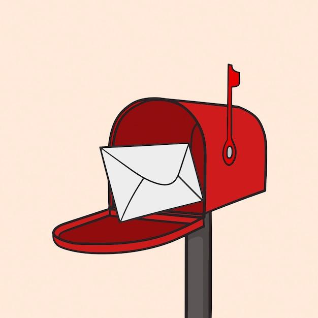 Ilustração da caixa postal vermelha Vetor Premium