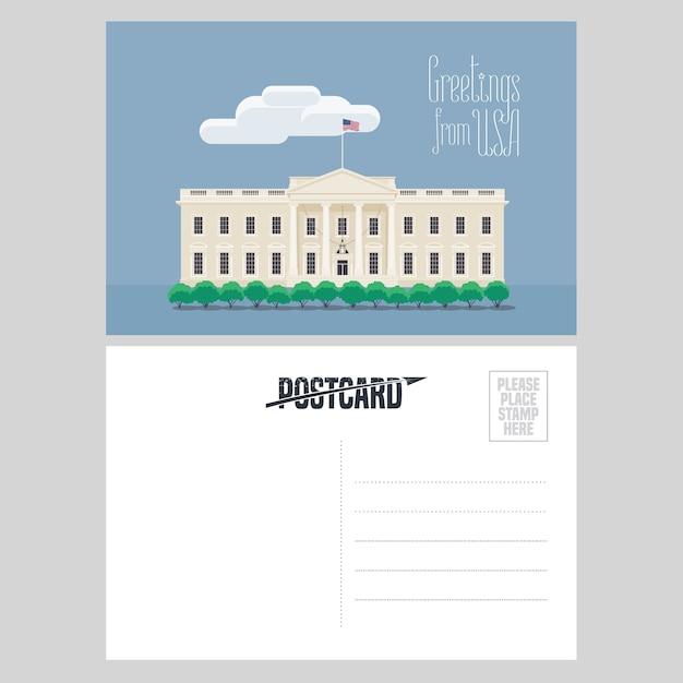 Ilustração da casa branca americana. elemento para cartão de correio aéreo enviado dos eua para conceito de viagem para a américa com ponto de referência famoso Vetor Premium