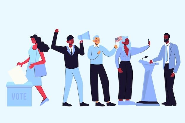 Ilustração da cena da campanha eleitoral Vetor grátis