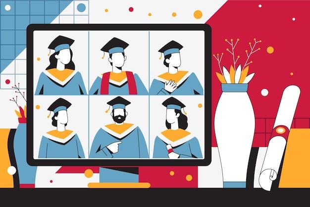 Ilustração da cerimônia de formatura na plataforma online Vetor grátis