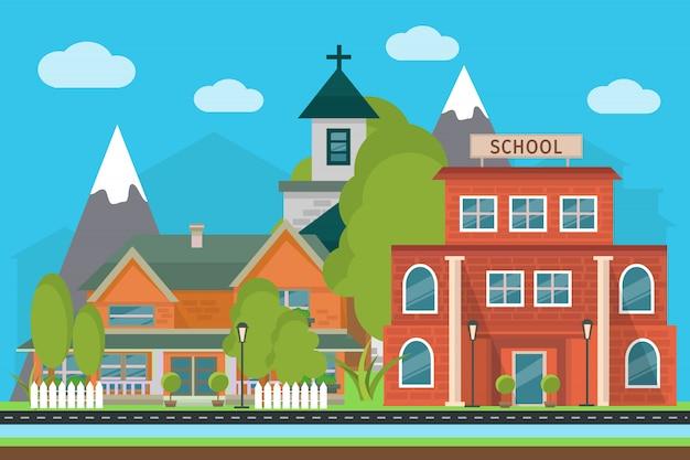 Ilustração da cidade plana com paisagem escola e edifícios da cidade nas montanhas Vetor grátis