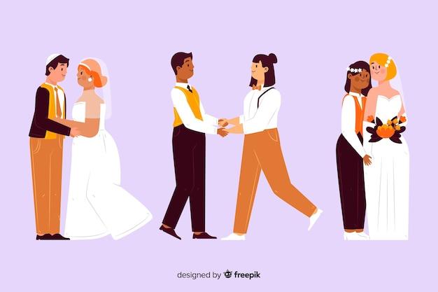 Ilustração da coleção de casal de noivos Vetor grátis