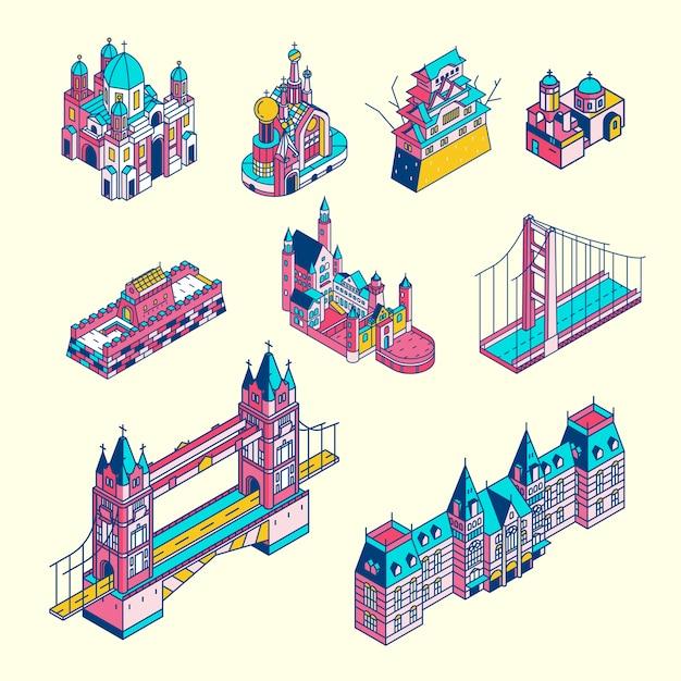 Ilustração da coleção de pontos turísticos mundialmente conhecida Vetor grátis