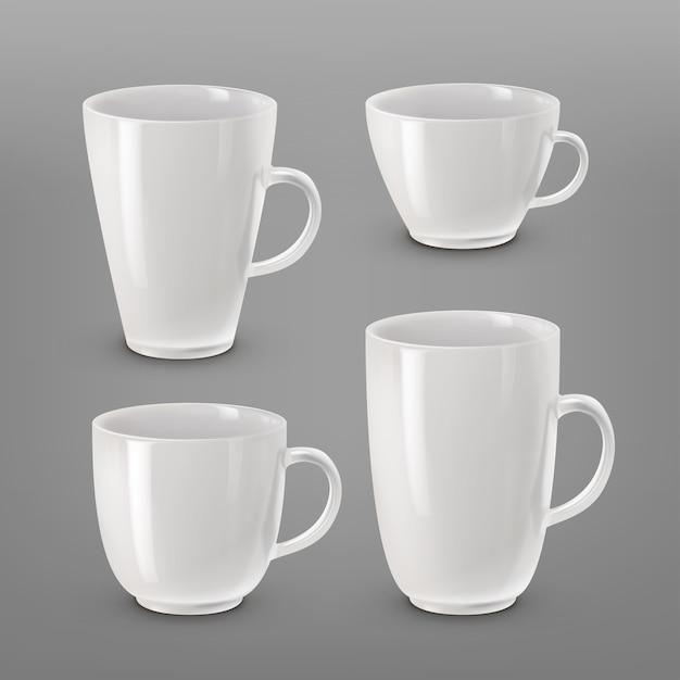 Ilustração da coleção de várias xícaras e canecas brancas para café ou chá isoladas Vetor grátis