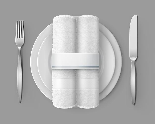 Ilustração da configuração da mesa vista superior de dois guardanapos de pano branco Vetor Premium