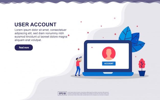 Ilustração da conta de usuário e usuário de email com dispositivo e pessoas pequenas. ilustração para landing page, conteúdo de mídia social, publicidade. Vetor Premium