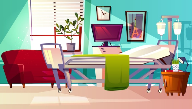 Ilustração da enfermaria de hospital do quarto do paciente da clínica. fundo interior vazio médico dos desenhos animados Vetor grátis