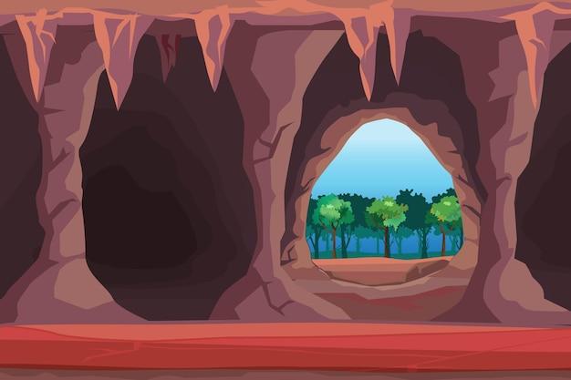 Ilustração da entrada da caverna na ilustração da floresta Vetor Premium