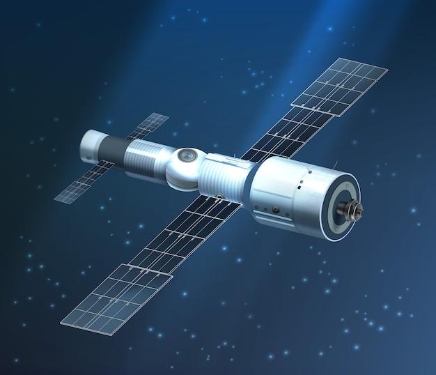 Ilustração da estação espacial internacional orbitando no fundo estrelado Vetor Premium
