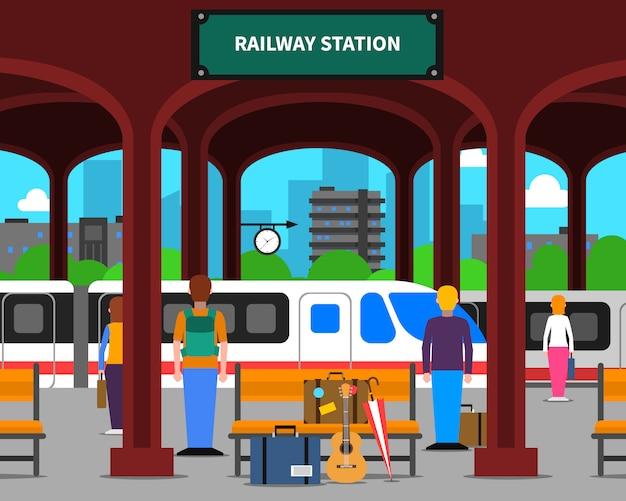 Ilustração da estação ferroviária Vetor grátis