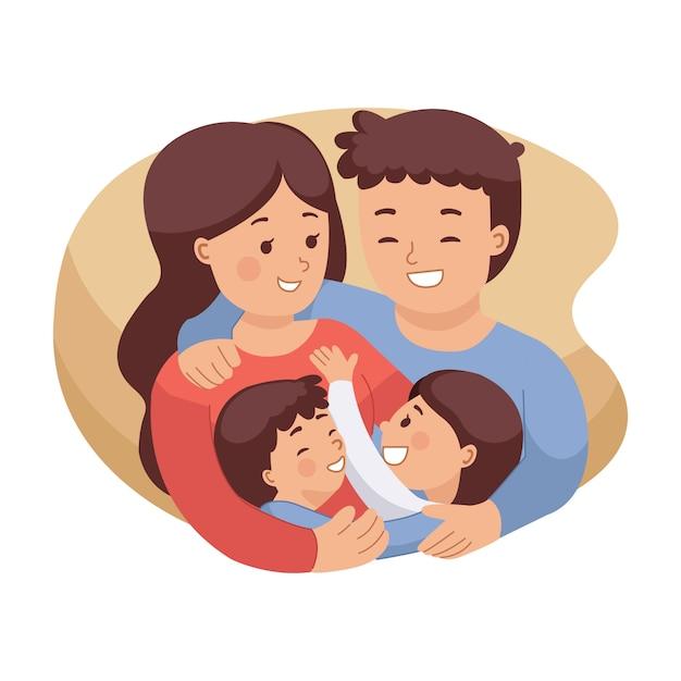Ilustração da família feliz que abraça-se. imagem de seguro médico. mãe e pai com filha e filho. dia internacional da família. estilo simples, isolado no fundo branco. Vetor Premium