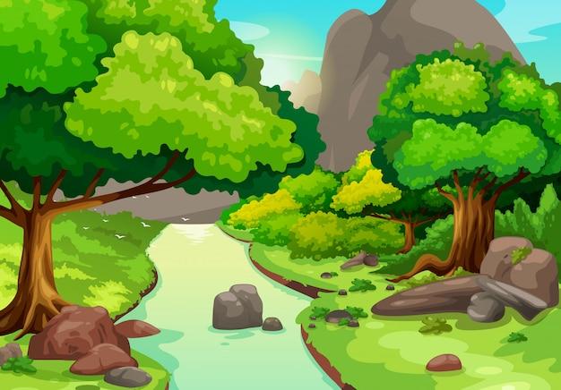 Ilustração da floresta com um vetor de fundo do rio Vetor Premium