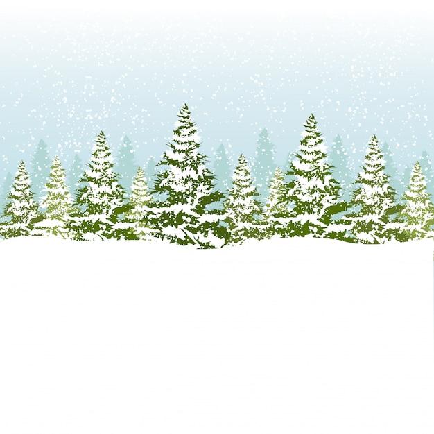 Ilustração da floresta de natal. Vetor Premium