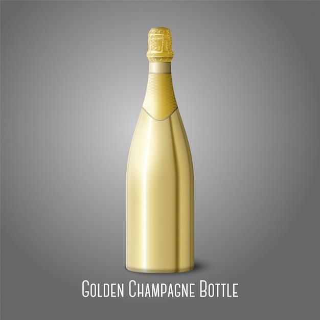 Ilustração da garrafa de champanhe dourada sobre fundo cinza Vetor Premium