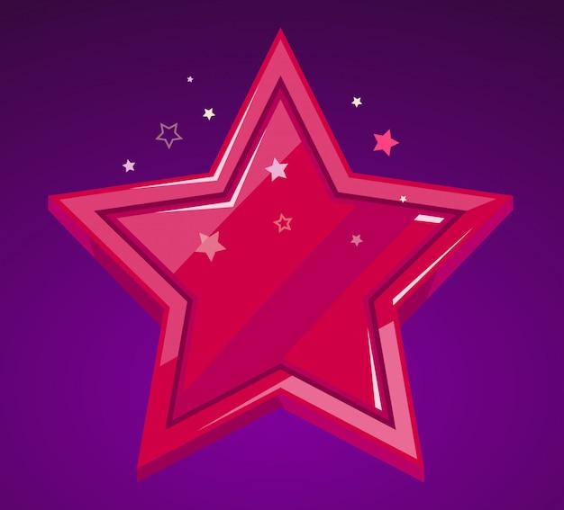 Ilustração da grande estrela vermelha em fundo roxo. Vetor Premium