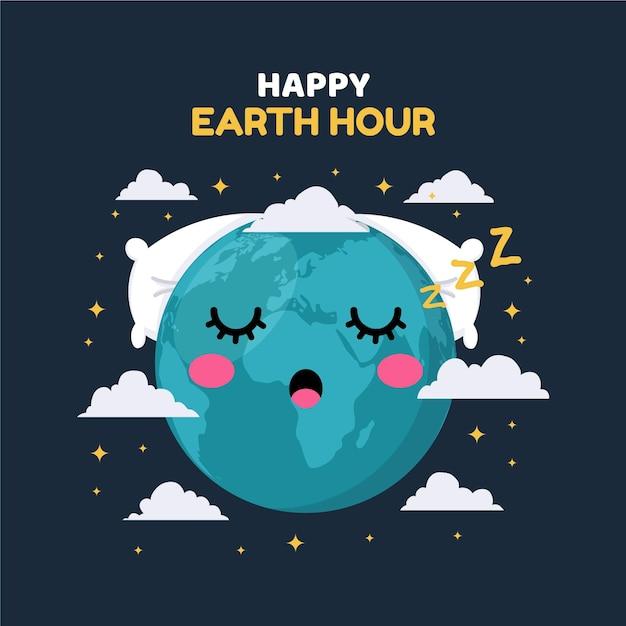 Ilustração da hora da terra plana Vetor grátis