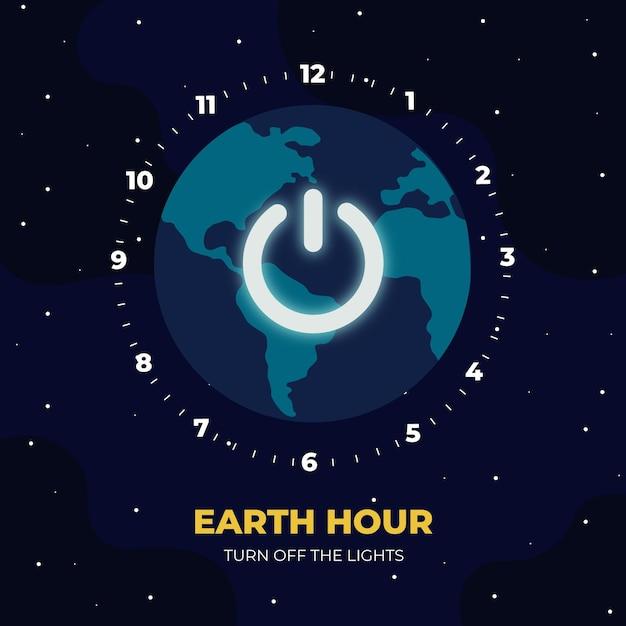 Ilustração da hora terrestre com planeta e botão de desligar Vetor Premium