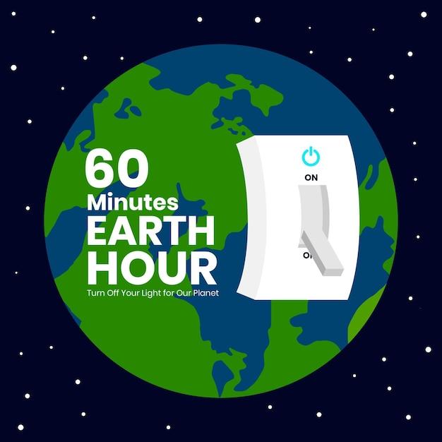 Ilustração da hora terrestre com planeta e interruptor de luz Vetor grátis
