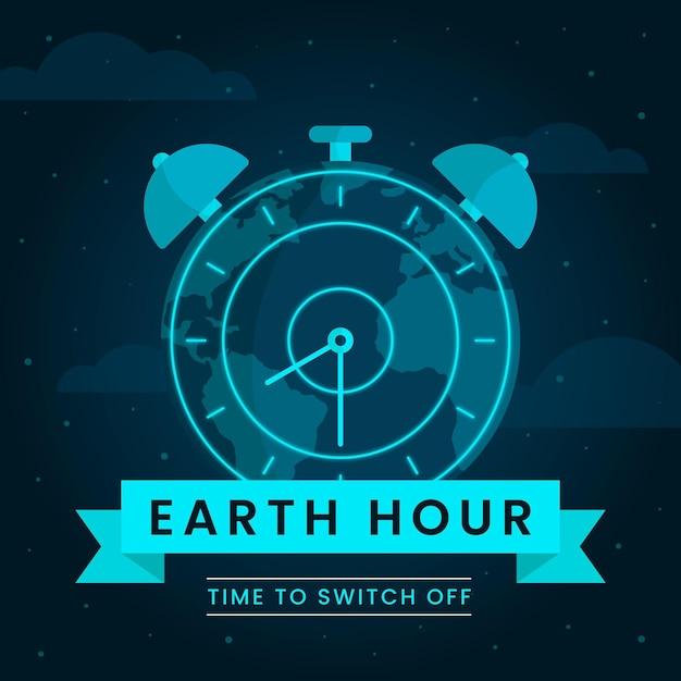Ilustração da hora terrestre com planeta e relógio Vetor Premium