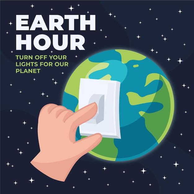 Ilustração da hora terrestre desenhada à mão com a mão desligando a luz e o planeta Vetor grátis