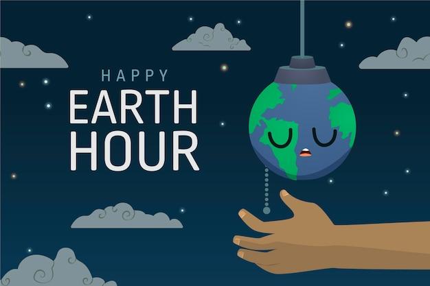 Ilustração da hora terrestre desenhada à mão com a mão desligando o planeta Vetor grátis