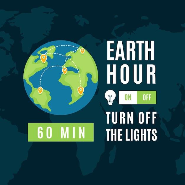 Ilustração da hora terrestre desenhada à mão com o planeta Vetor grátis