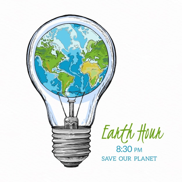 Ilustração da hora terrestre desenhada à mão com planeta e lâmpada Vetor grátis