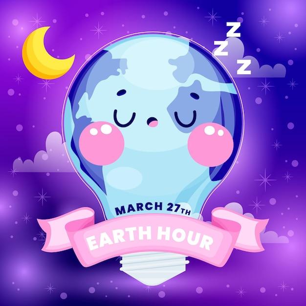 Ilustração da hora terrestre desenhada à mão com planeta e lâmpada Vetor Premium