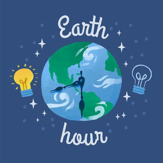 Ilustração da hora terrestre desenhada à mão com planeta e relógio Vetor grátis