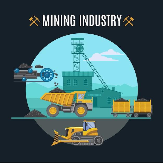 Ilustração da indústria de mineração Vetor grátis